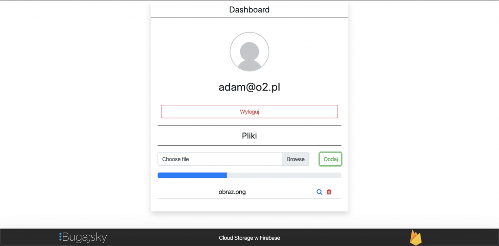 Cloud Storage w Firebase - dashboard