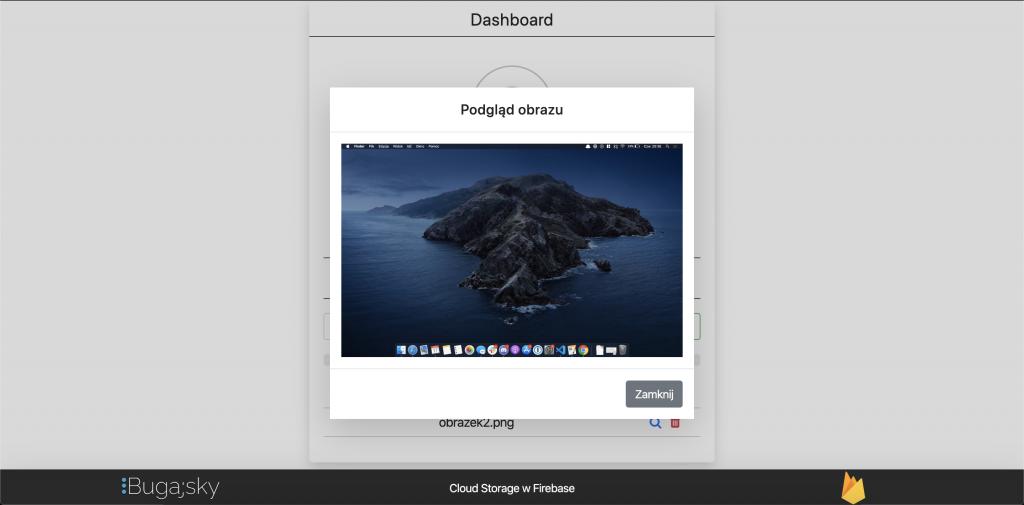 Cloud Storage w Firebase - podglad